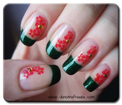 Green French Tip With Red Flower Nail Art