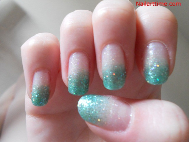 Green Glitter French Tip Nail Design