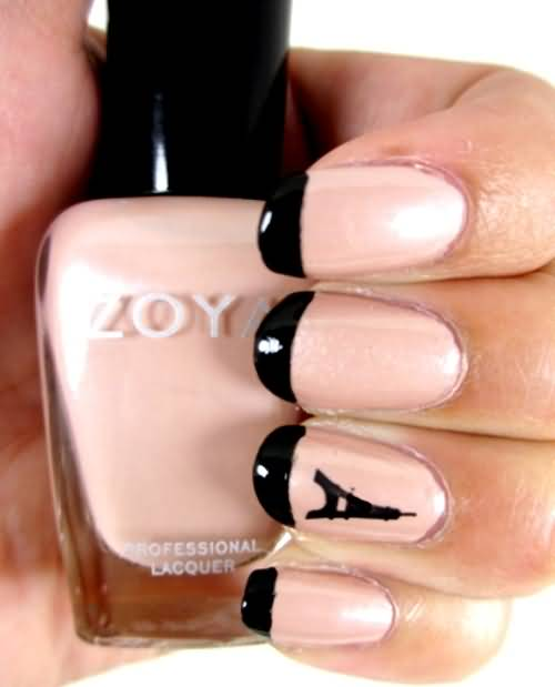 Peach Nails With Black French Tip Nail Art And Eiffel Tower Design