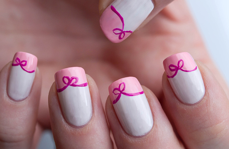 Pink Acrylic Simple Bow Nail Art