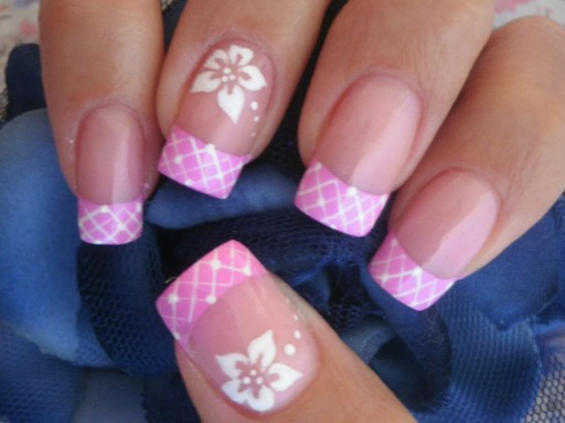 Pink Corset French Tip With White Flowers Nail Art