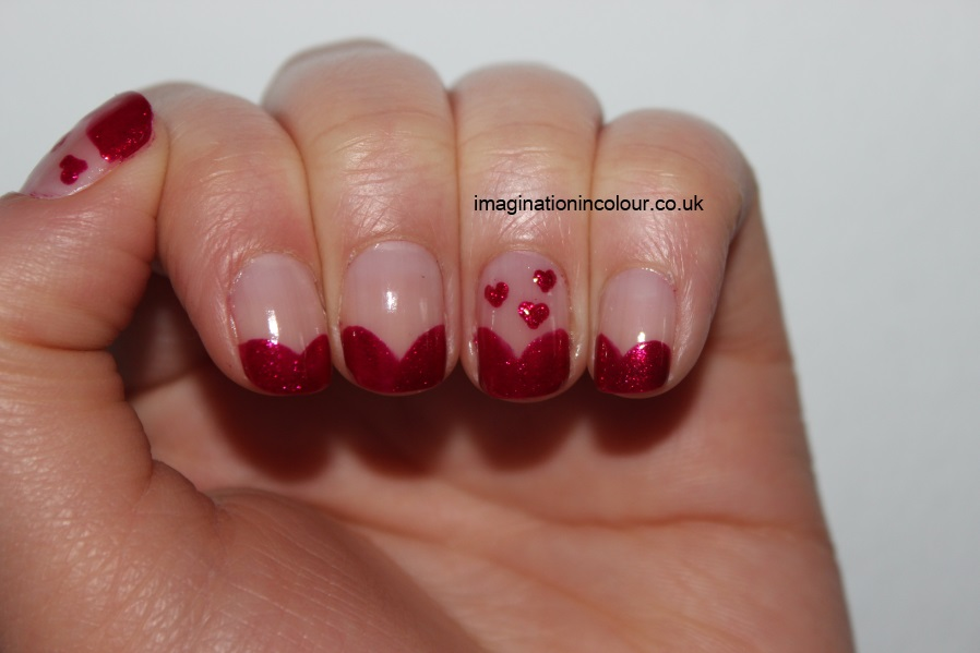 Pink Hearts French Tip Nail Art Design
