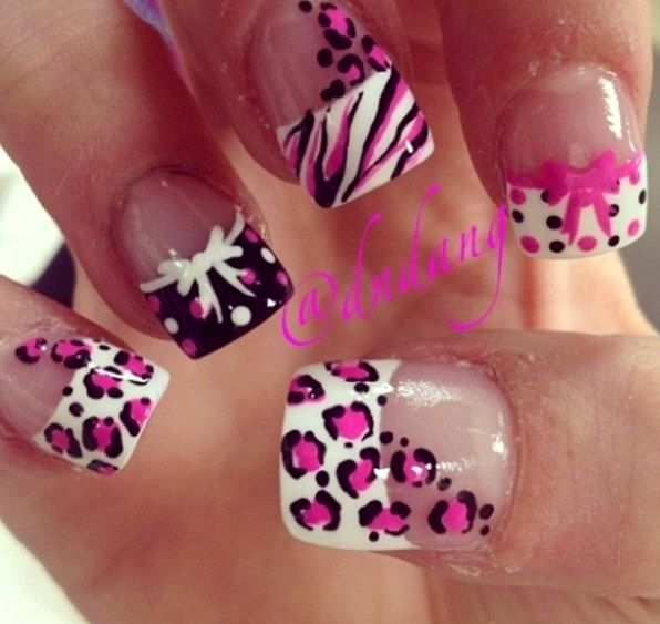 Pink White And Black Animal Print French Tip Nail Art