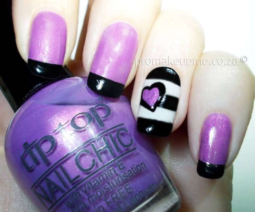 Purple Nails With Black French Tip Nail Art