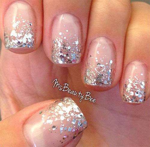 Silver Glitter French Tip Nail Design Idea