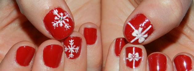 Snowflakes And Bow Nail Art Design Idea