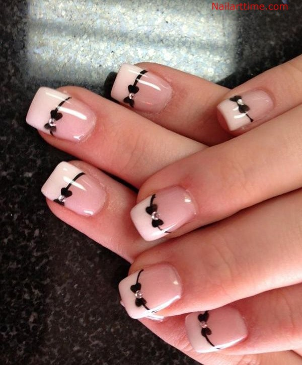 French Tips In Leopard Print Nail Art Designs