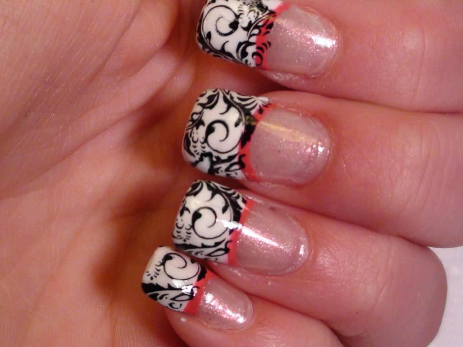 White French Tip Nail Art With Black Flower Design