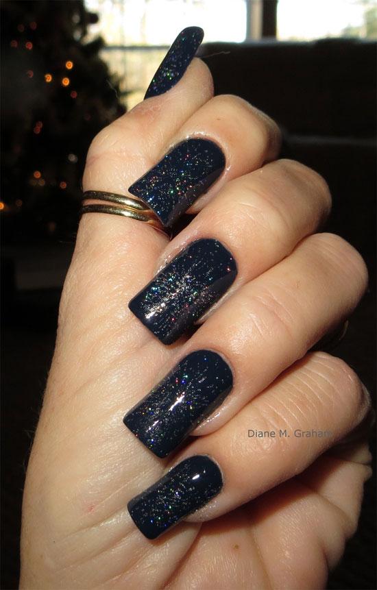 Black Glitter Acrylic Nail Art Design
