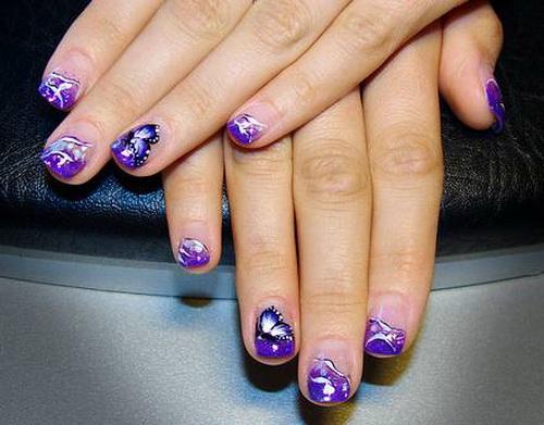 Cute Purple Acrylic Nail Art Design For Short Nails