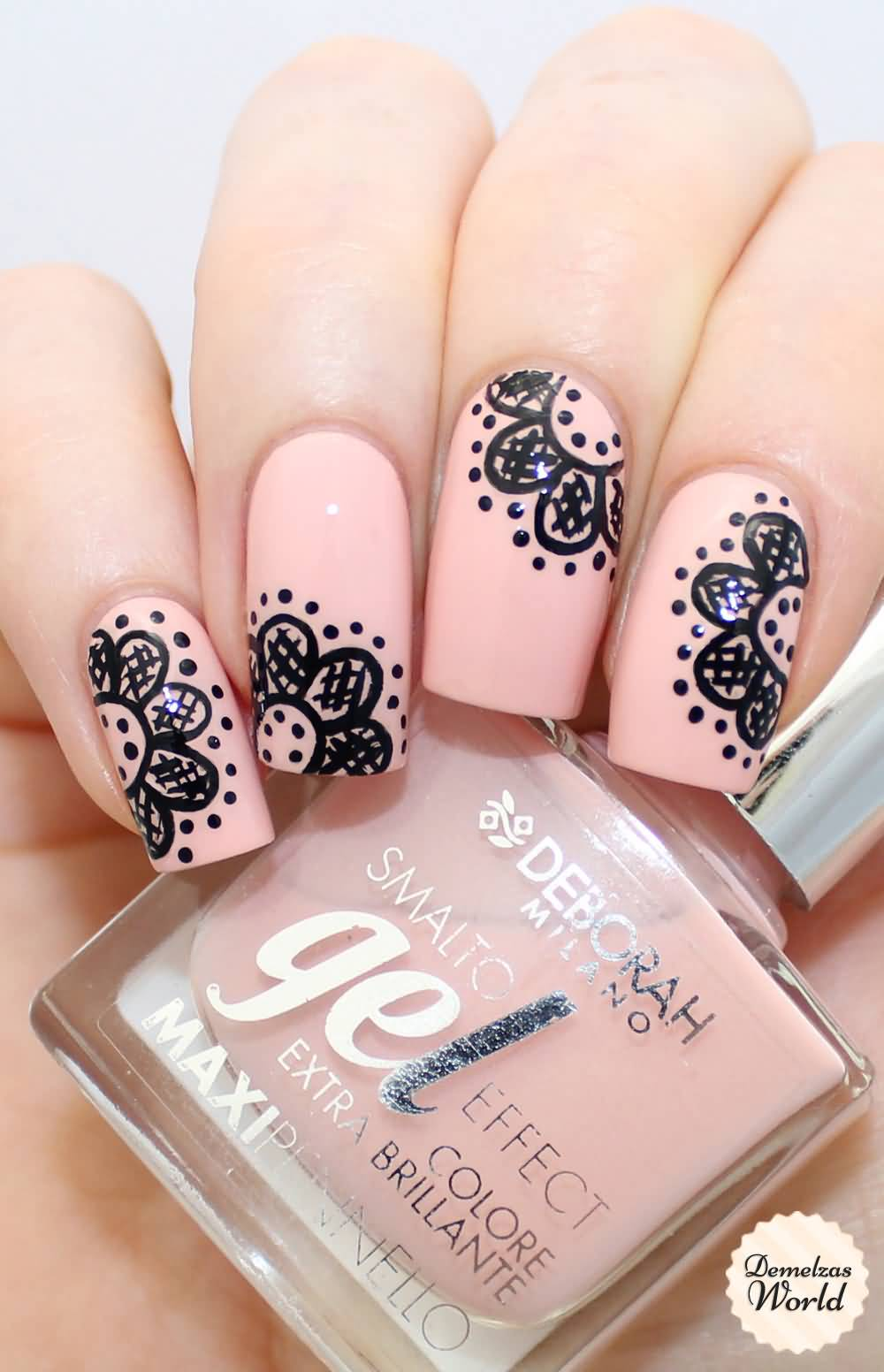 Peach Nails With Black Lace Nail Art