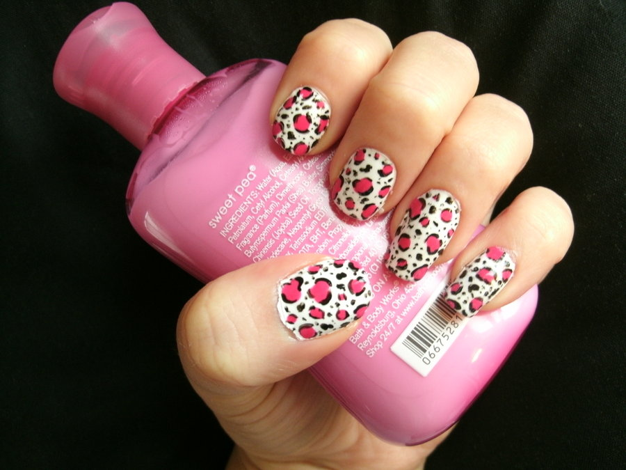 Pink Leopard Print Nail Art By Animalluver