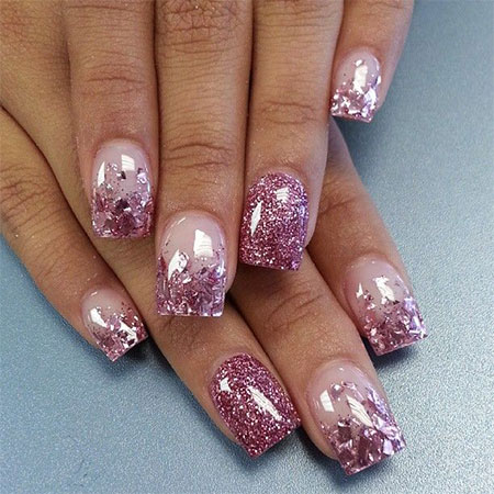 Purple Glitter Acrylic Nail Art Design