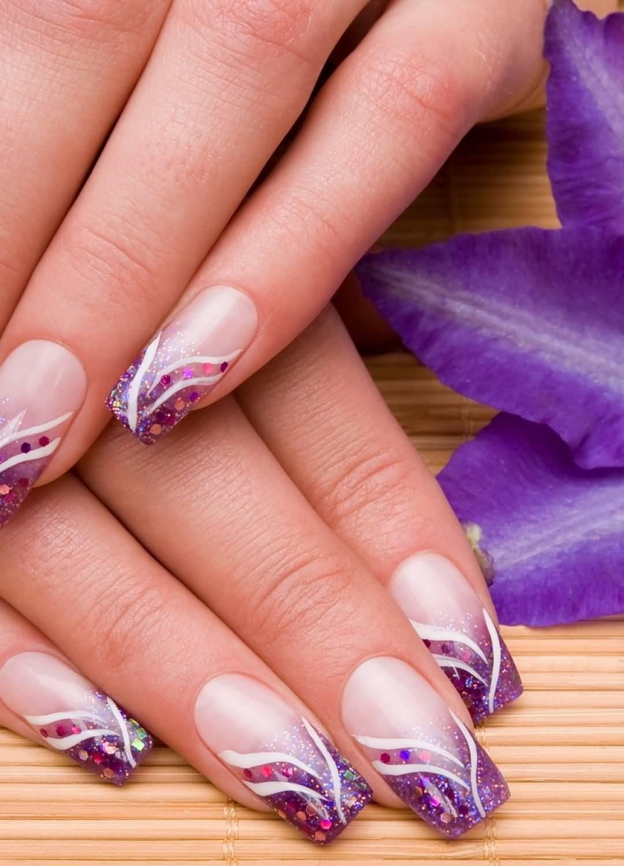 Purple Glitter Acrylic Nail Art