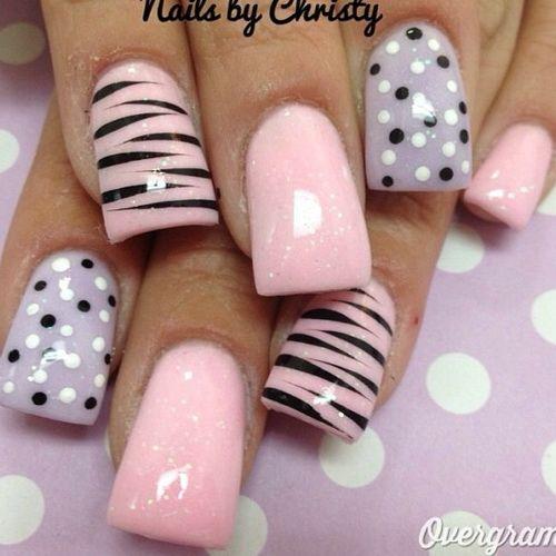 Zebra Print And Polka Dots Acrylic Nail Art Design