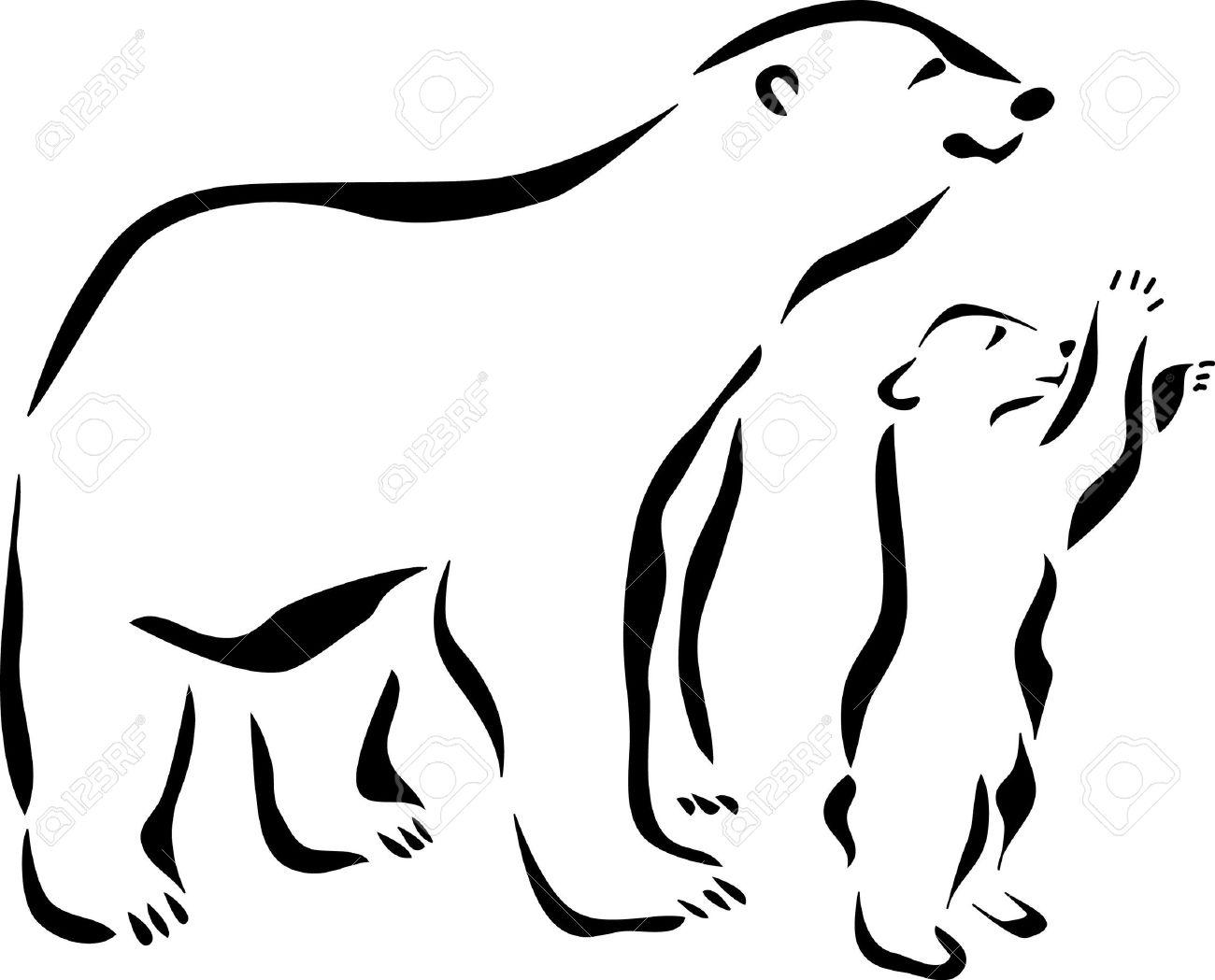 22 Outline Polar Bear Tattoos