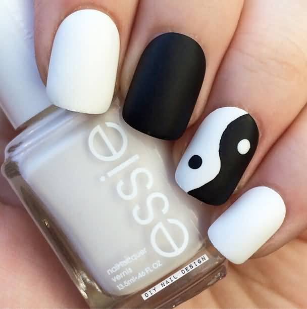 Black And White Yin Yang Matte Nail Design
