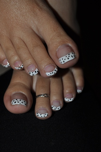 White Tip Toe Nail Art With Rhinestones Flowers Design