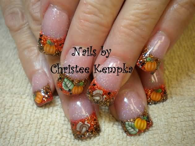 French Tip Glitter Thanksgiving Nail Art