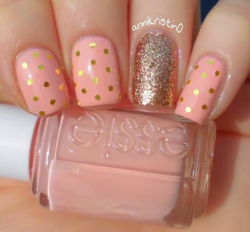 Peach Nails With Gold Polka Dots Nail Art