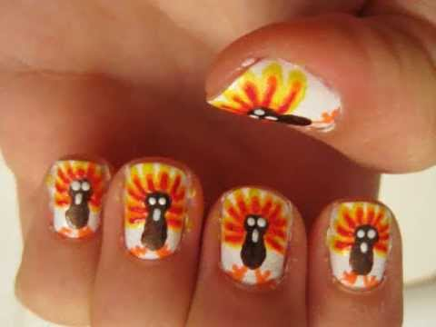Turkey Nail Design Idea For Thanksgiving Day