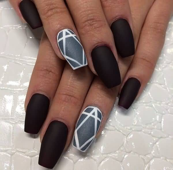 Beautiful Simple Black Matte Nail Art With Grey And White Design