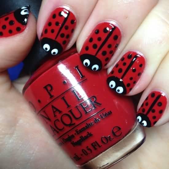 Black And Red Ladybug Design Nail Art