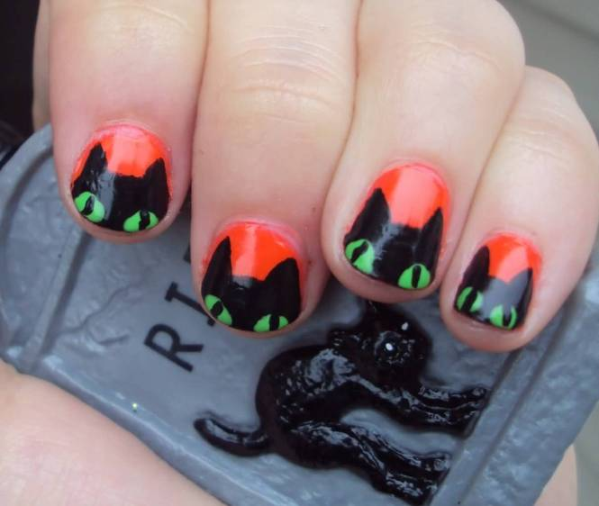 Amazing Black Cat Nail Art Designs Ideas 2016