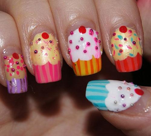 Colorful Cupcake Nail Art Design