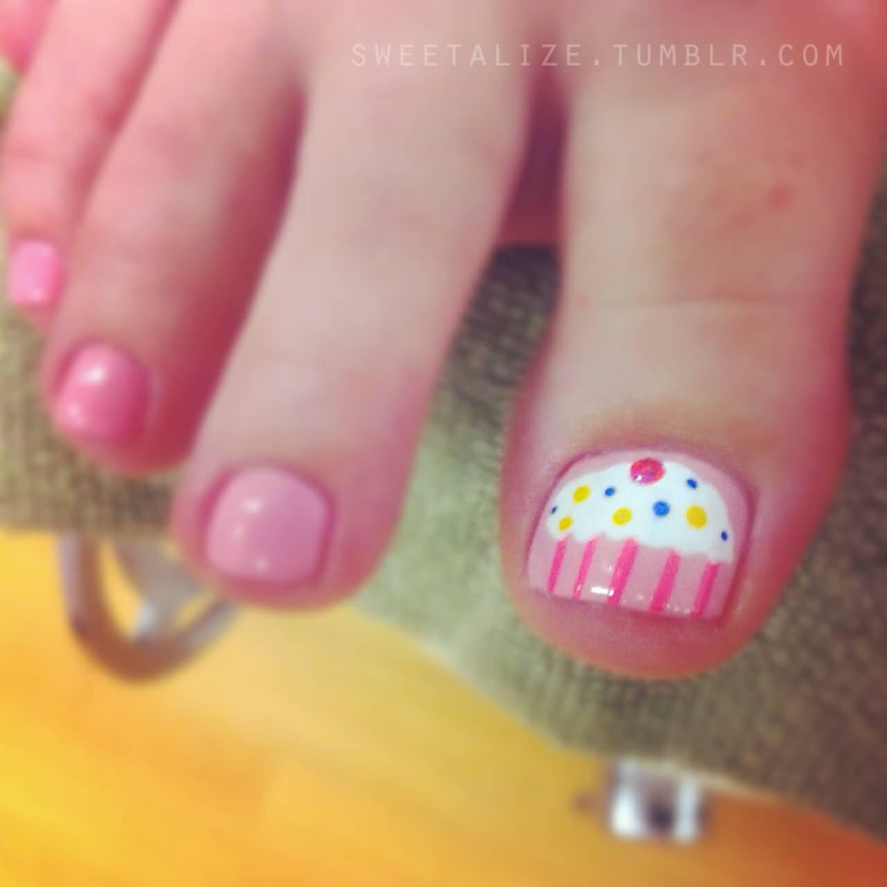 Cute Cupcake Nail Art Design For Toe Nails