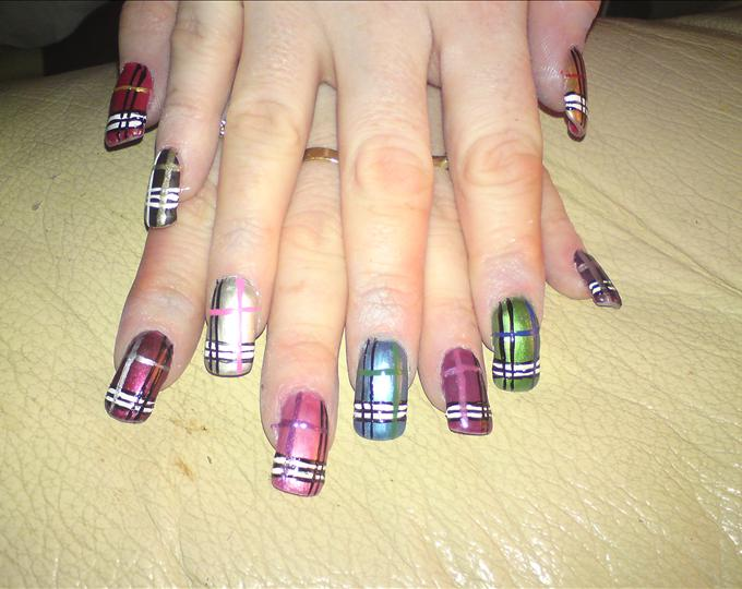 Multicolored Nails With Burberry Nail Art Design