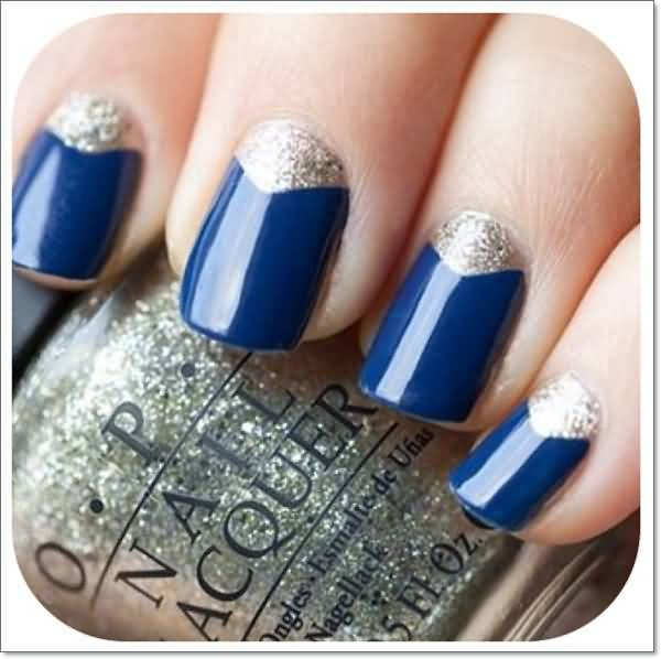 Navy Blue Nails With Silver Glitter Reverse French Tip Nail Art