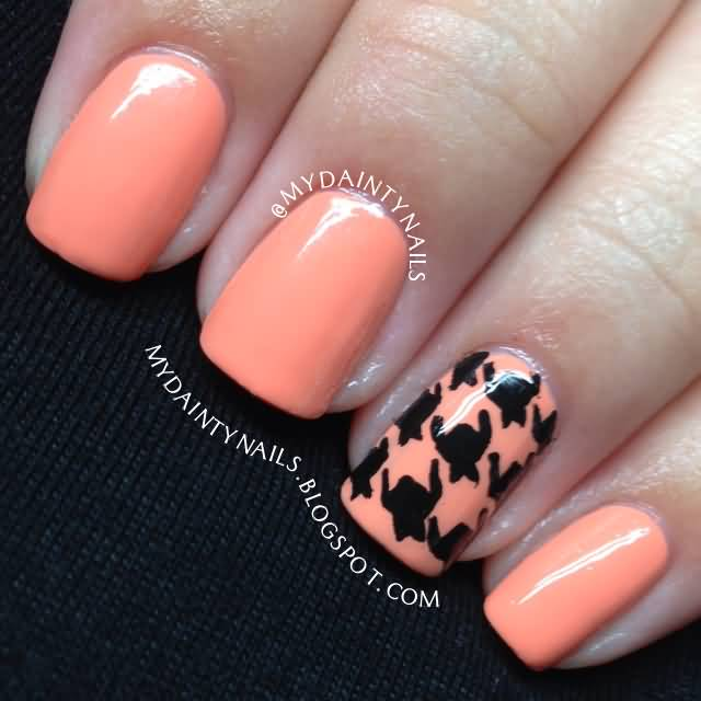 Peach And Black Accent Houndstooth Nail Art