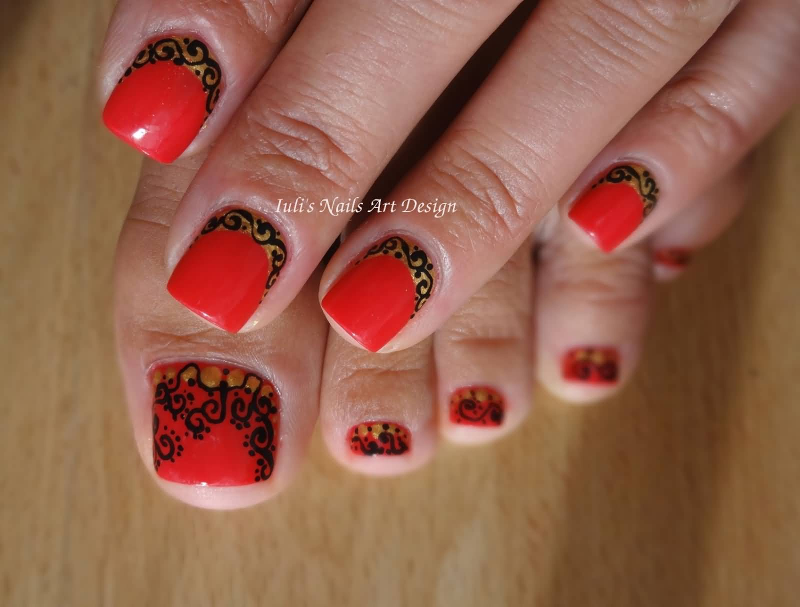 Red Nails With Black Lace Design Reverse French Tip Nail Art