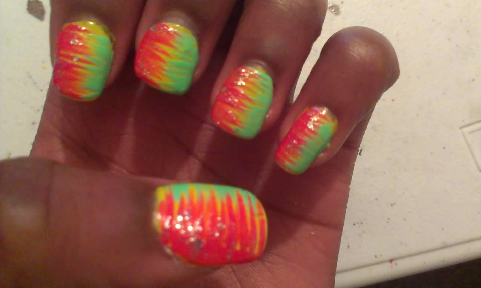 Revlon Neon Nail Art Design