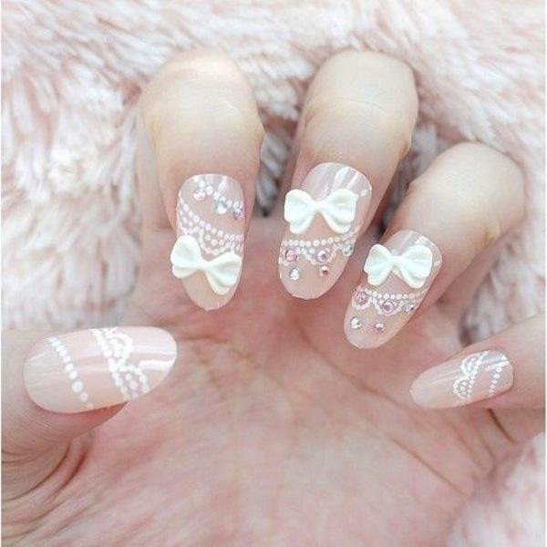 3d Bow And Glitter Heart Design Wedding Nail Art
