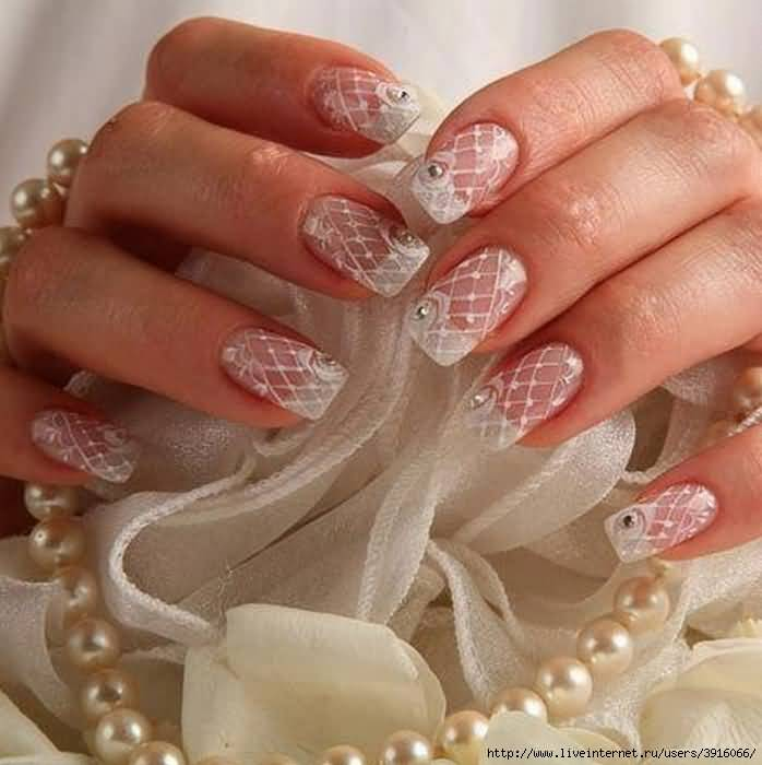 35 Most Beautiful Wedding Lace Nail Art Designs 5 French Tip