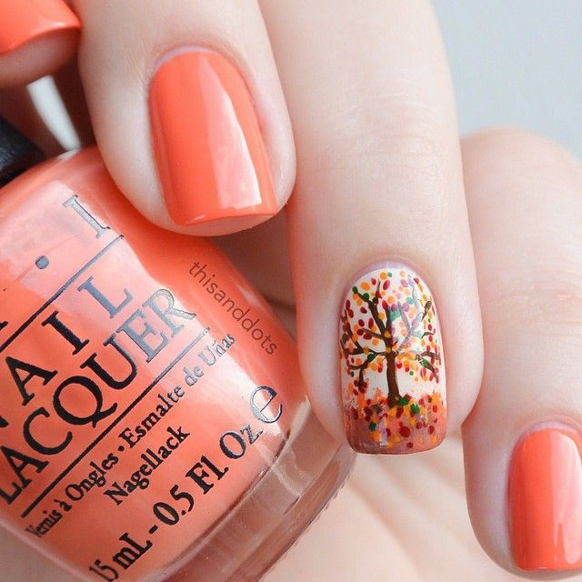 Accent Autumn Tree Nail Art