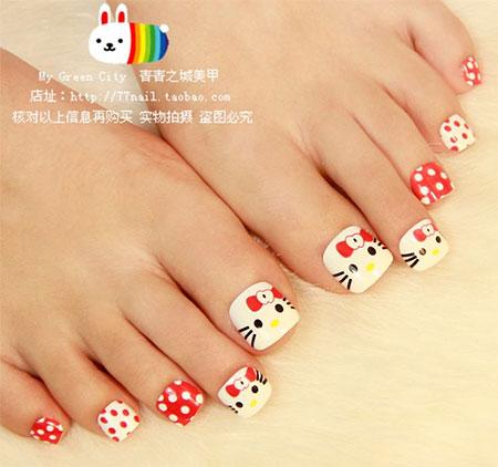 O Kitty Toe Nail Art Design Idea