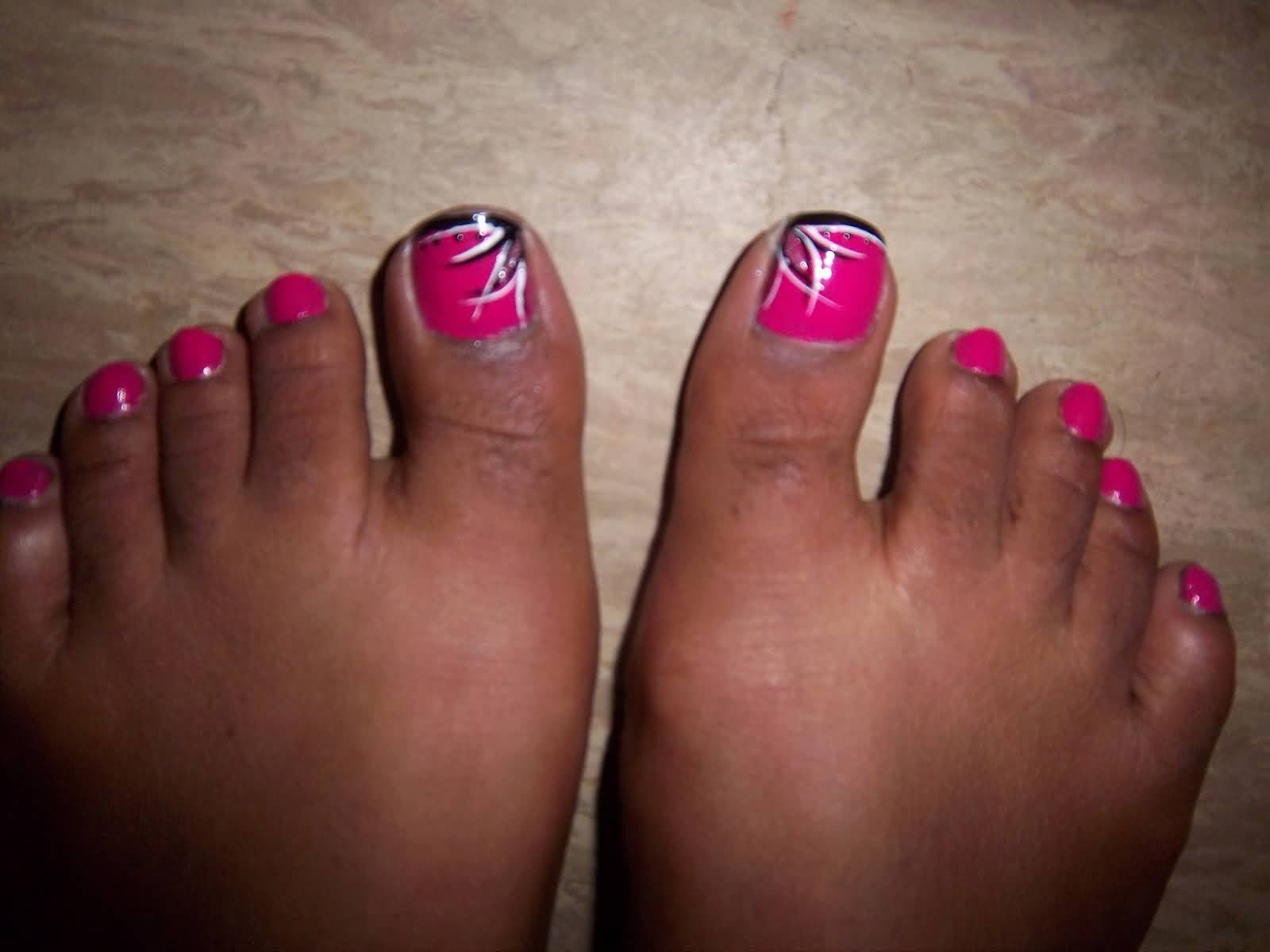 Hot Pink Toe Nail Art With Black Tip And Stripes Design