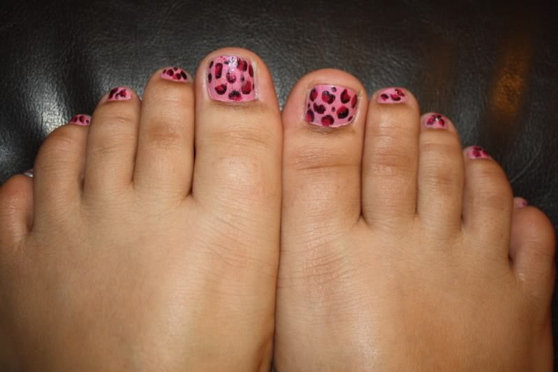 Pink And Red Leopard Print Toe Nail Art