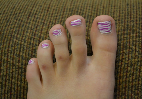 Pink And White Zebra Print Toe Nail Art