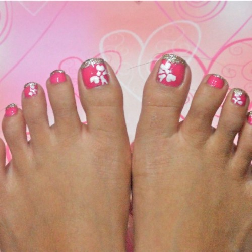 Pink Toe Nail Art White Flower Design