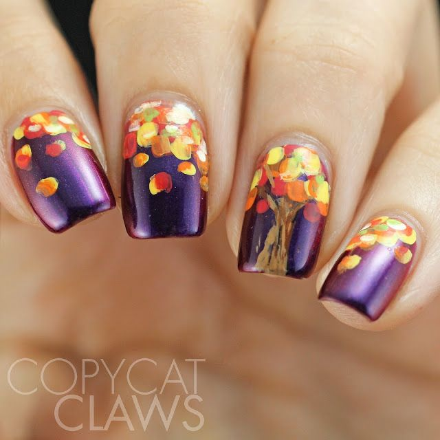 Purple French Tip With Polka Dots Autumn Nail Art