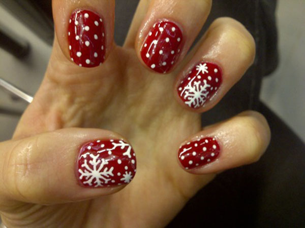 Red And White Dots Snowflakes Design Winter Nail Art