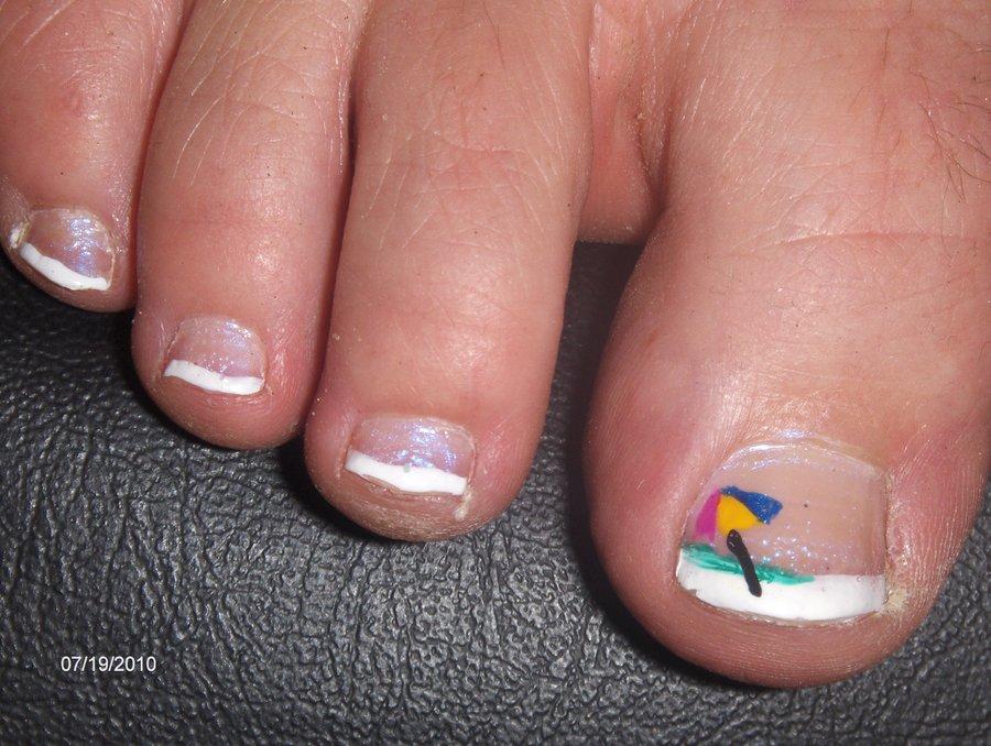Simple White Tip Toe Nails With Umbrella Design