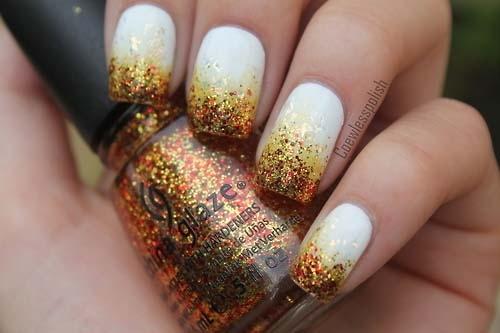 White Nails With Gold Glitter Design Winter Nail Art