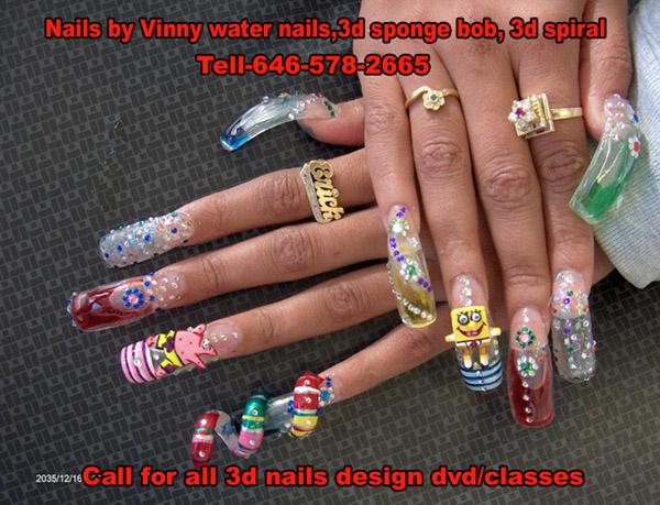 3d Spiral Design Nail Art Idea