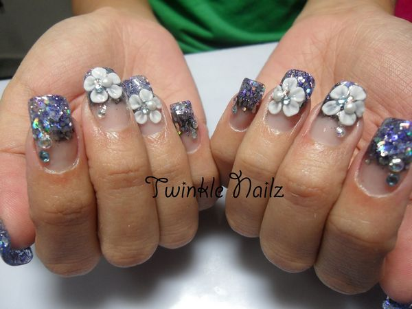 3d Acrylic Flower Nail Art With Black Accent
