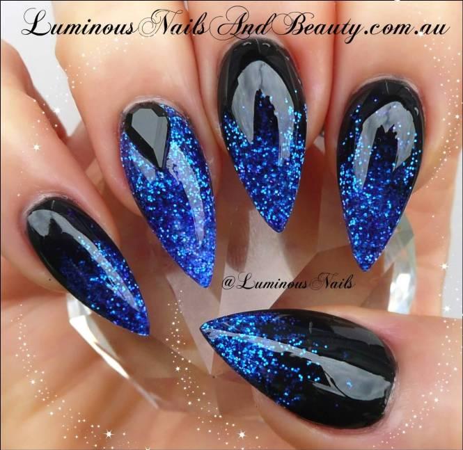 Easy Nail Designs Bows Blue Black And White Stripe